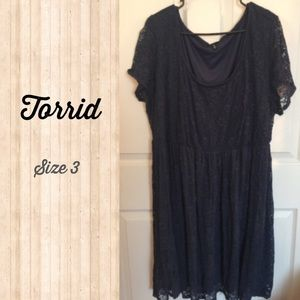 Torrid Navy Blue Lace Skater Dress Size 3